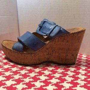 Born Beau Blue Leather Cork Heel Wedges